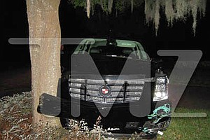 Tiger Woods' Cadillac Escalade after an accident on Nov. 27 in his Orlando neighborhood.