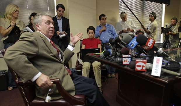 Attorney Bill Sharpe responds to a question during a news conference in Orlando, Fla., on Dec. 1.
