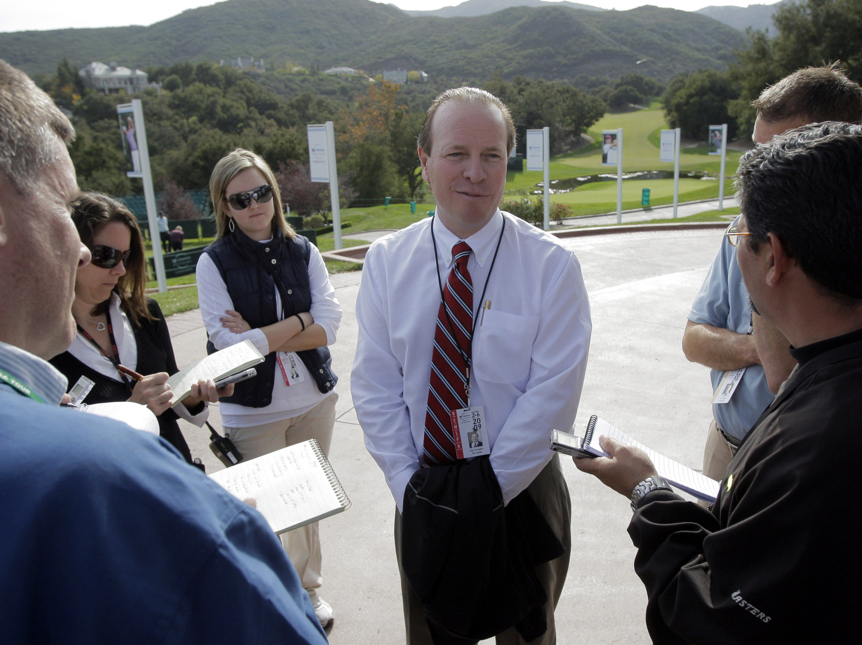 Greg McLaughlin talks to reporters at Sherwood Country Club on Dec. 1.
