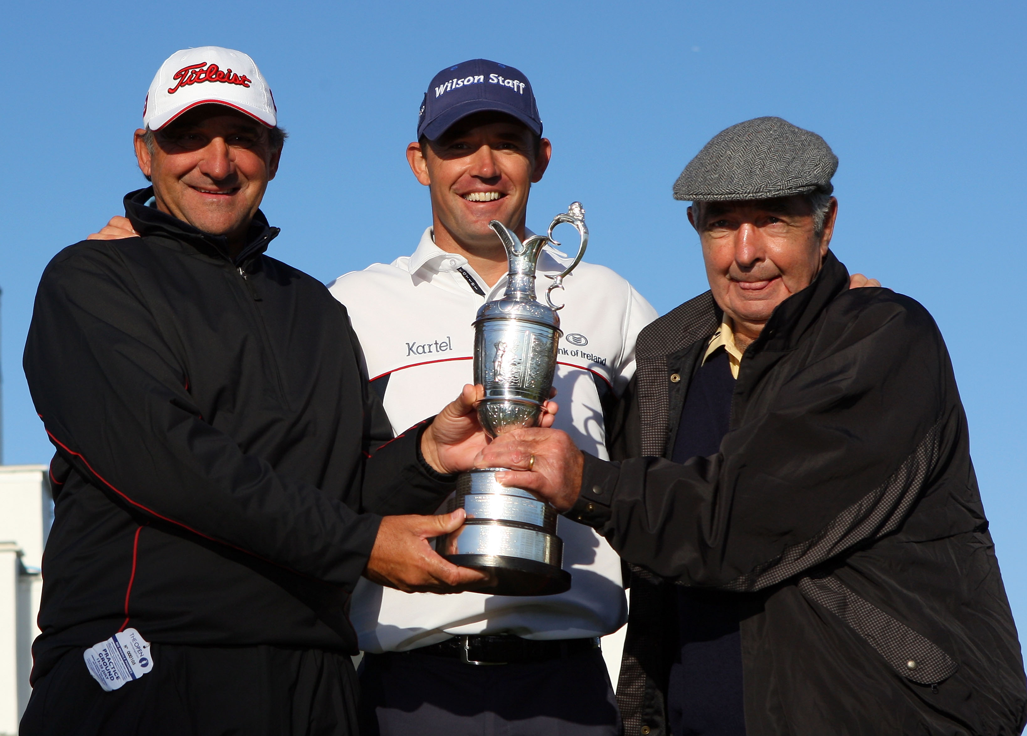 Padraig Harrington with the Claret Jug and Bob Rotella (left) and Bob Torrance (right) after winning the 2008 Open.