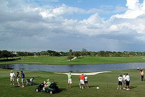 A view of holes No. 9 and 18 at the Lakes Course at Bear Lakes Country Club in West Palm Beach, Fla.