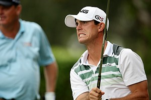 Billy Horschel reacts to his tee shot at No. 11.