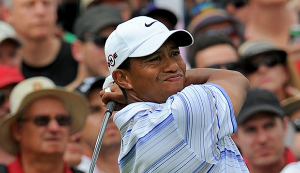 Tiger Woods tees off during the third round of the 2009 Australian Masters.