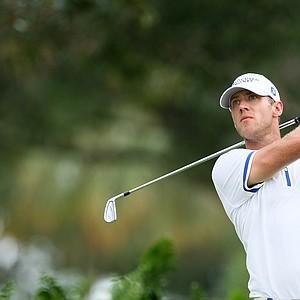 Graham Delaet hits his tee shot at No. 2.