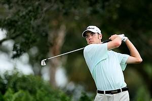 Troy Merritt hits his tee shot at No. 2.