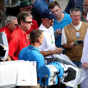 David Lutterus talks with the media ater shooting 64 during Monday's final round.