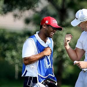 David Lutterus celebrates with his caddie Drake Jones after securing his PGA Tour card.