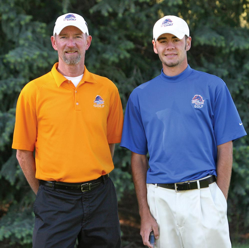 Boise State coach Kevin Burton (left) and Troy Merritt