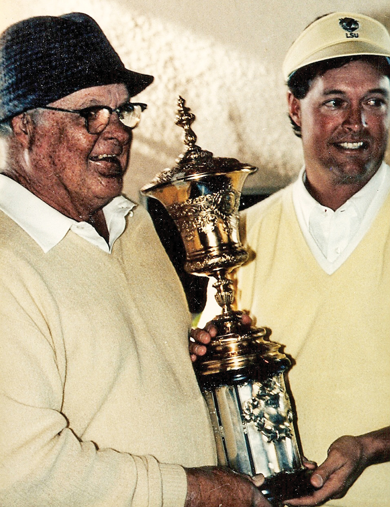 Skip and Buddy Alexander with the 1986 U.S. Amateur trophy.