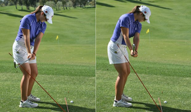 Auburn senior Candace Schepperle uses alignment sticks as a swing guide on the practice range.