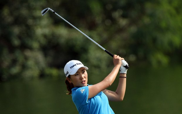 In-Kyung Kim plays her second shot into the 9th hole during the second round of the Dubai Ladies Masters.