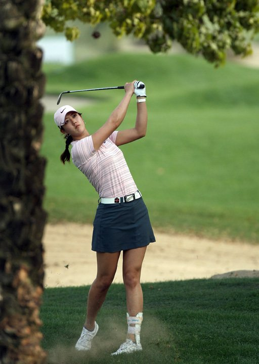 Michelle Wie plays her second shot at No. 16.