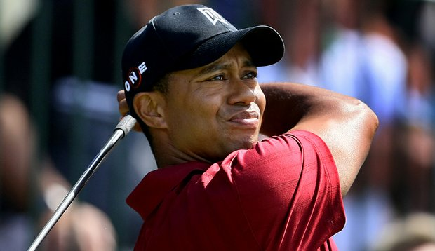 Tiger Woods tees off at the Tour Championship in September.