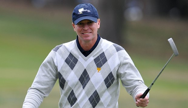Thanks to a birdie at No. 18, Steve Stricker (pictured) and Jerry Kelly maintained the lead at the Shark Shootout.