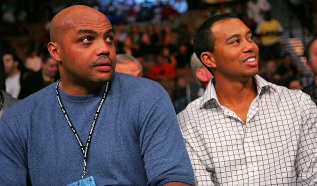 Charles Barkley and Tiger Woods at boxing match in Las Vegas in 2006.