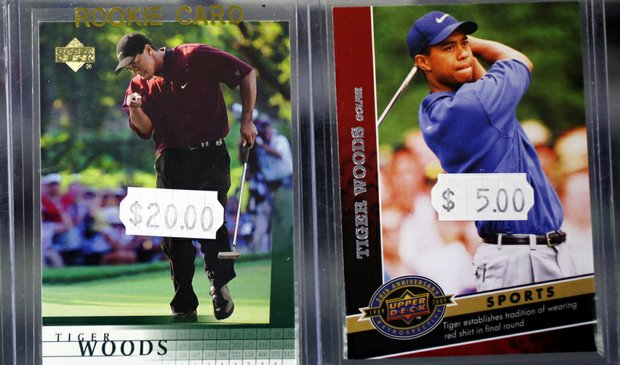 Upper Deck trading cards featuring Tiger Woods.