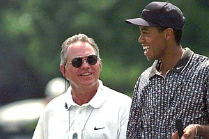 Tiger Woods' former coach Butch Harmon, left, spoke out about his former pupil.