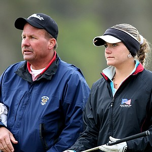 Alexis Thompson and her father/caddie, Scott, at No. 16. Thompson took second place after a playoff with Kyle Roig.