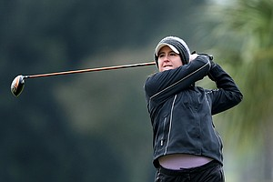 Amelia Lewis watches a shot during the final round of the Harder Hall Women's Invitational.
