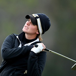Dolores White watches her tee shot at No. 16 during the final round of the Harder Hall Women's Invitational.