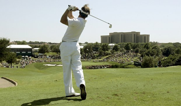 Trevor Immelman hits a shot from the 17th tee box during the Byron Nelson Championship.