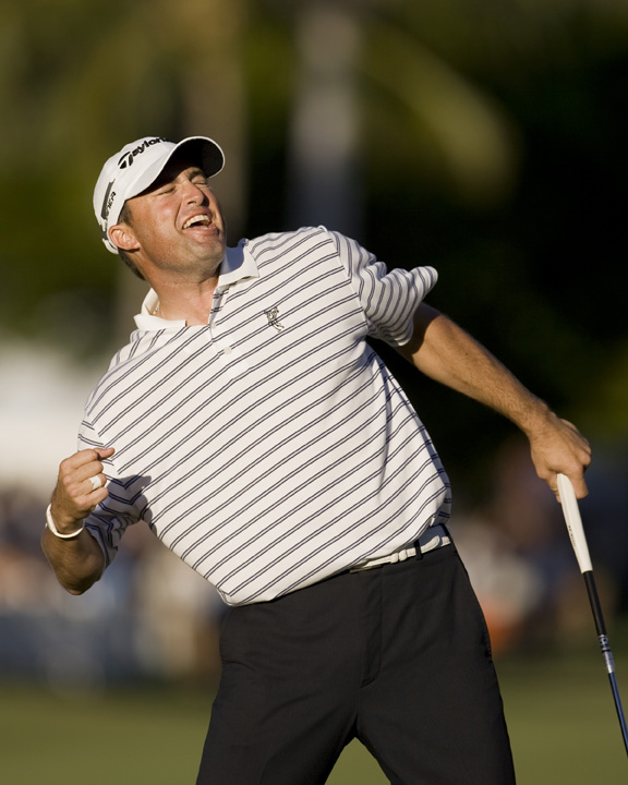Ryan Palmer reacts after tapping in for birdie on the 18th hole.
