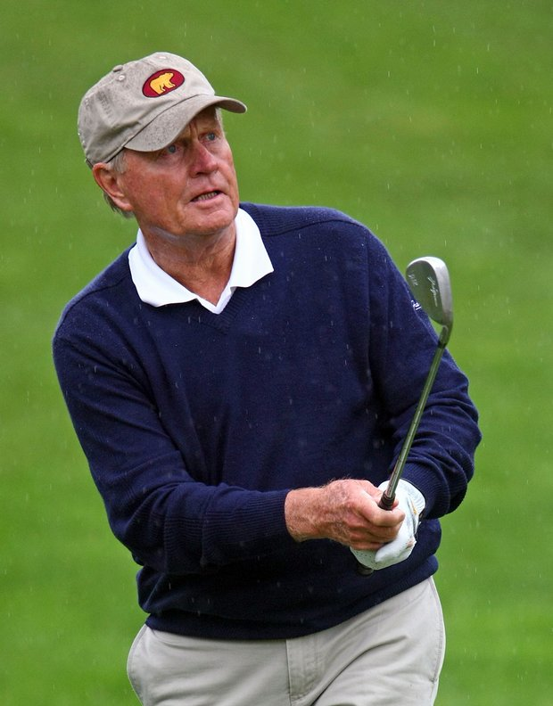Jack Nicklaus hits a shot during a skins game prior to the start of the 2009 Memorial Tournament.