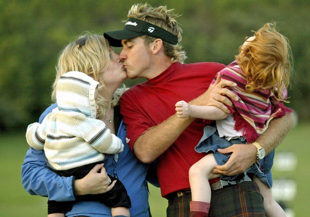Ian Poulter, greeting wife Katie and children after winning the 2004 Volvo Masters Andalucia, travels with family in mind.