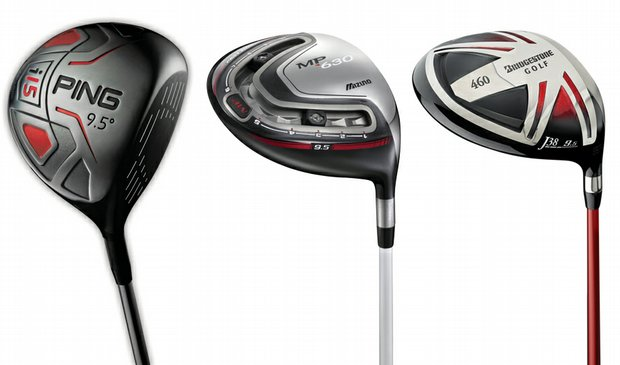 (Left to right) Ping i15, Mizuno MP-630 Fast Track, Bridgestone J38