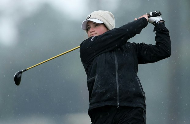 Courtney Ellenbogen hits a tee shot during the 2010 Harder Hall Women's Invitational.