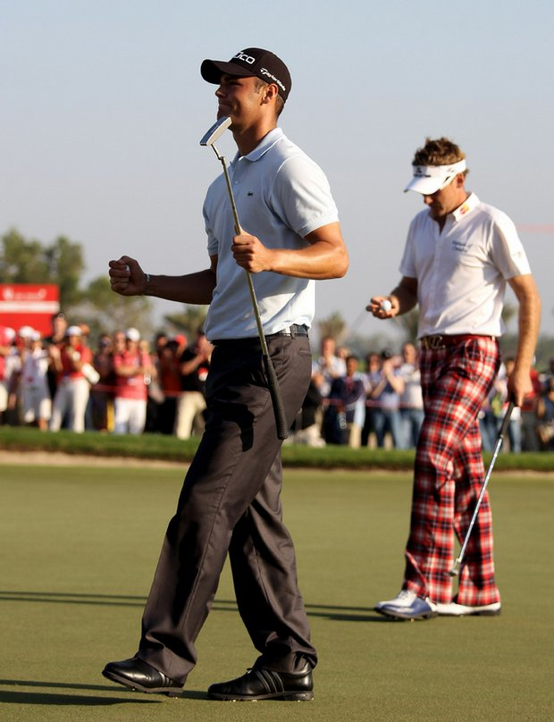 Martin Kaymer celebrates after sinking the winning putt.