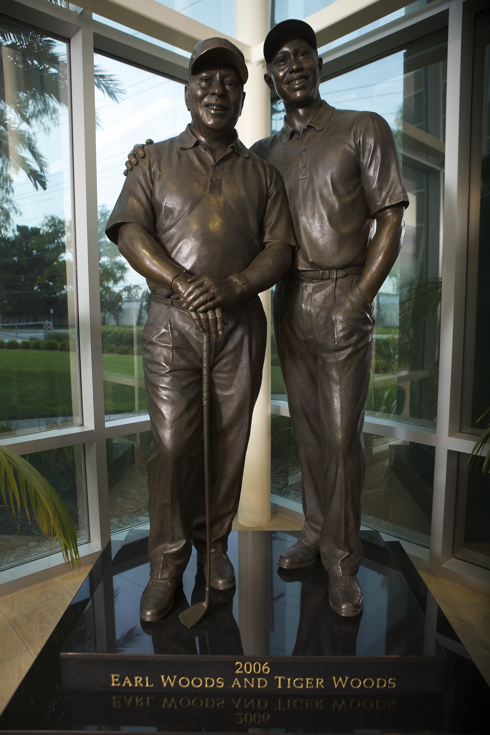 A statue at the Tiger Woods Learning Center.