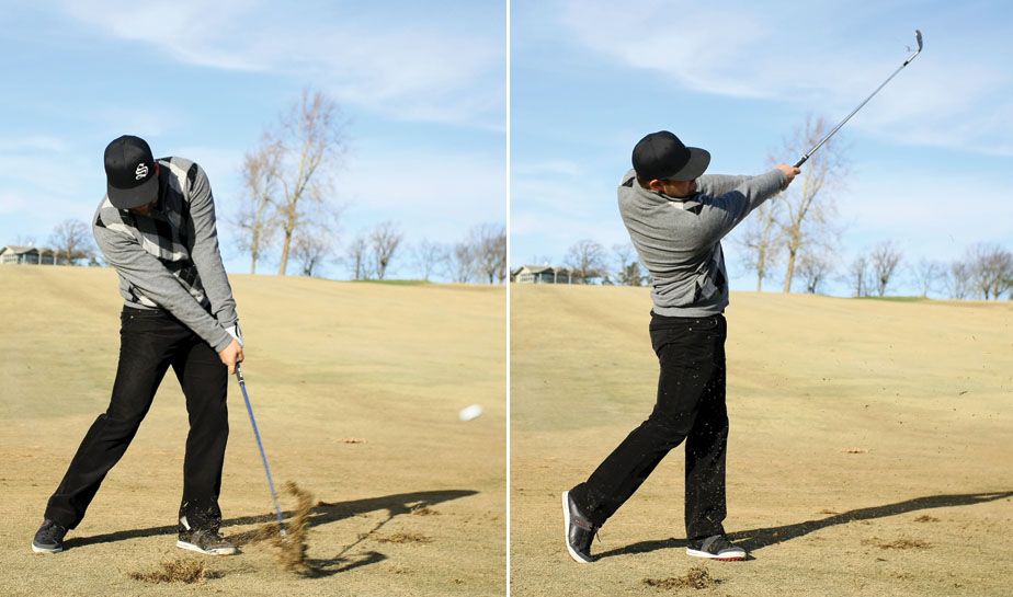 Moore holds the impact angle with his arms and wrists well into his follow-through, making it look as though each swing has an abbreviated finish.