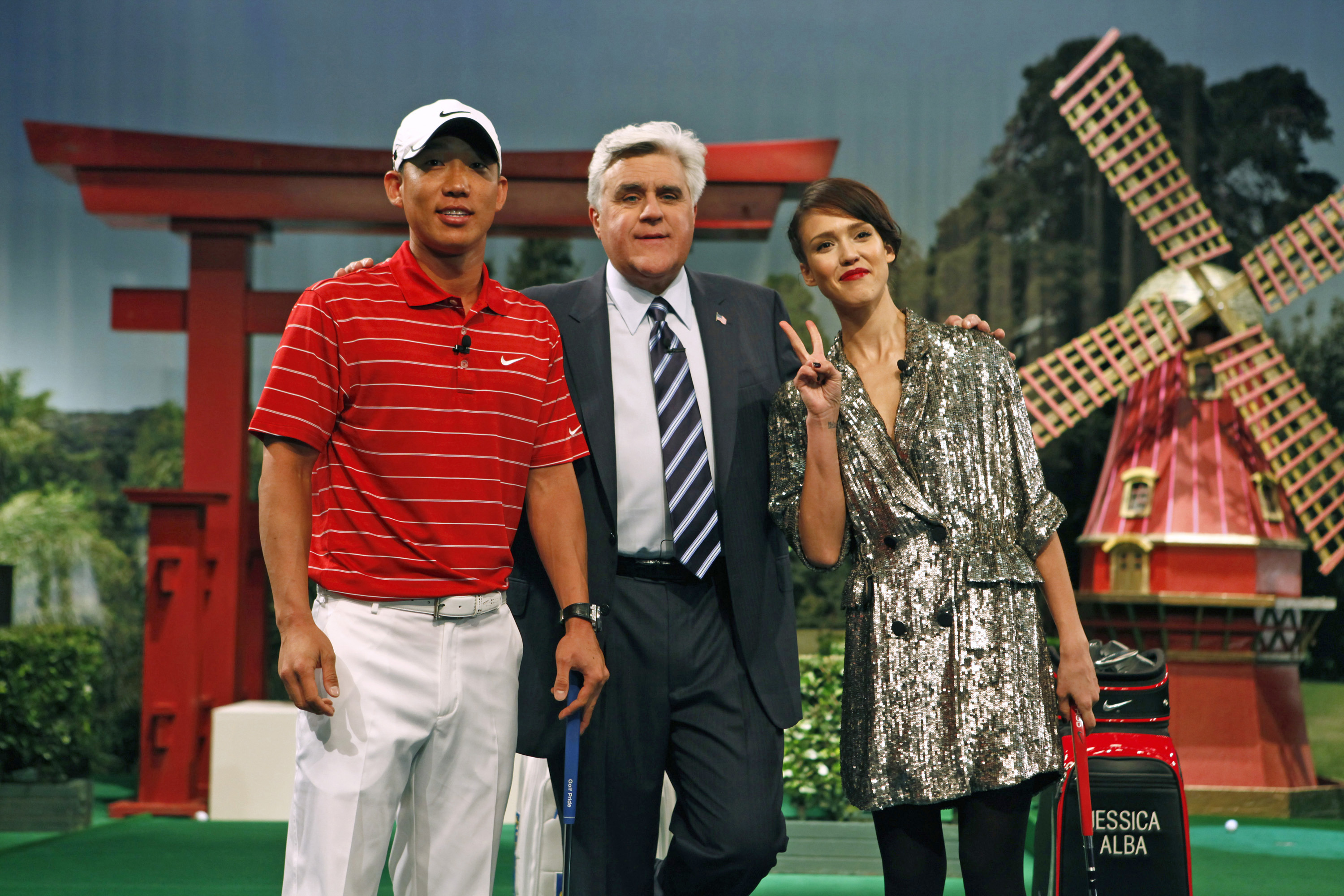 Anthony Kim with Jay Leno and Jessica Alba.
