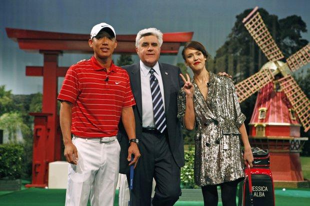 Anthony Kim with Jay Leno and Jessica Alba.