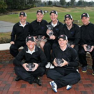 Nova Southeastern University poses with the hardware after winning Golfweek's Spring Invitational at Reunion Resort.