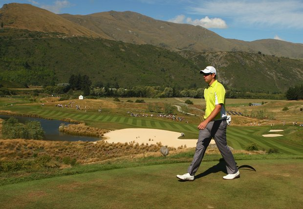 Robert Gates walks from the 15th tee at The Hills Golf Club in Queenstown, New Zealand, during Round 3 of the New Zealand Open.