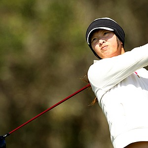 Doris Chen hits her tee shot at No. 18, she is currently in 2nd place after the first round.