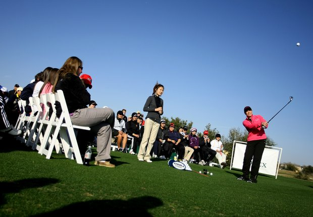 Annika Sorenstam held a clinic for the junior participants showing them a variety of shots.