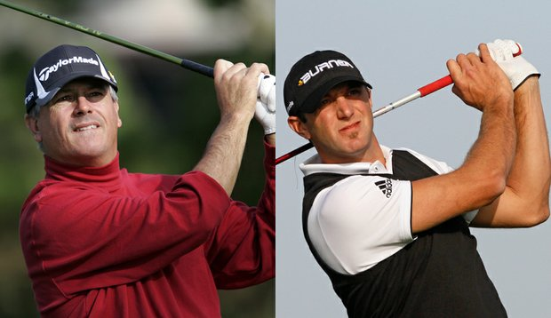 Paul Goydos (left) and Dustin Johnson are tied atop the leaderboard at 18 under.