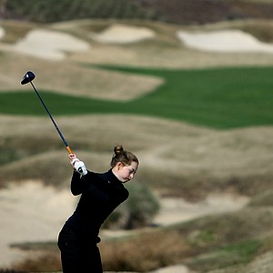 Shannon Aubert hits her tee shot at No. 13. Aubert dropped from third place to 16th after Sunday's round.