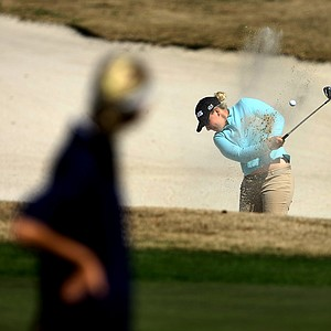 Portland Rosen hists out of the bunker at No. 8. Rosen finished T13.