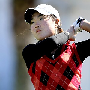Karen Chung hits her tee shot at No. 11. Chung place third in the event.