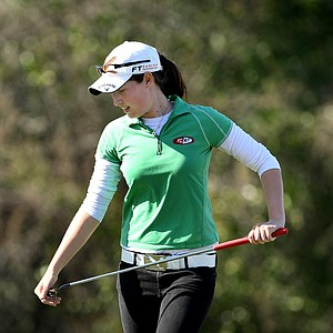 Laetitia Beck reacts to missing her par putt at No. 18.