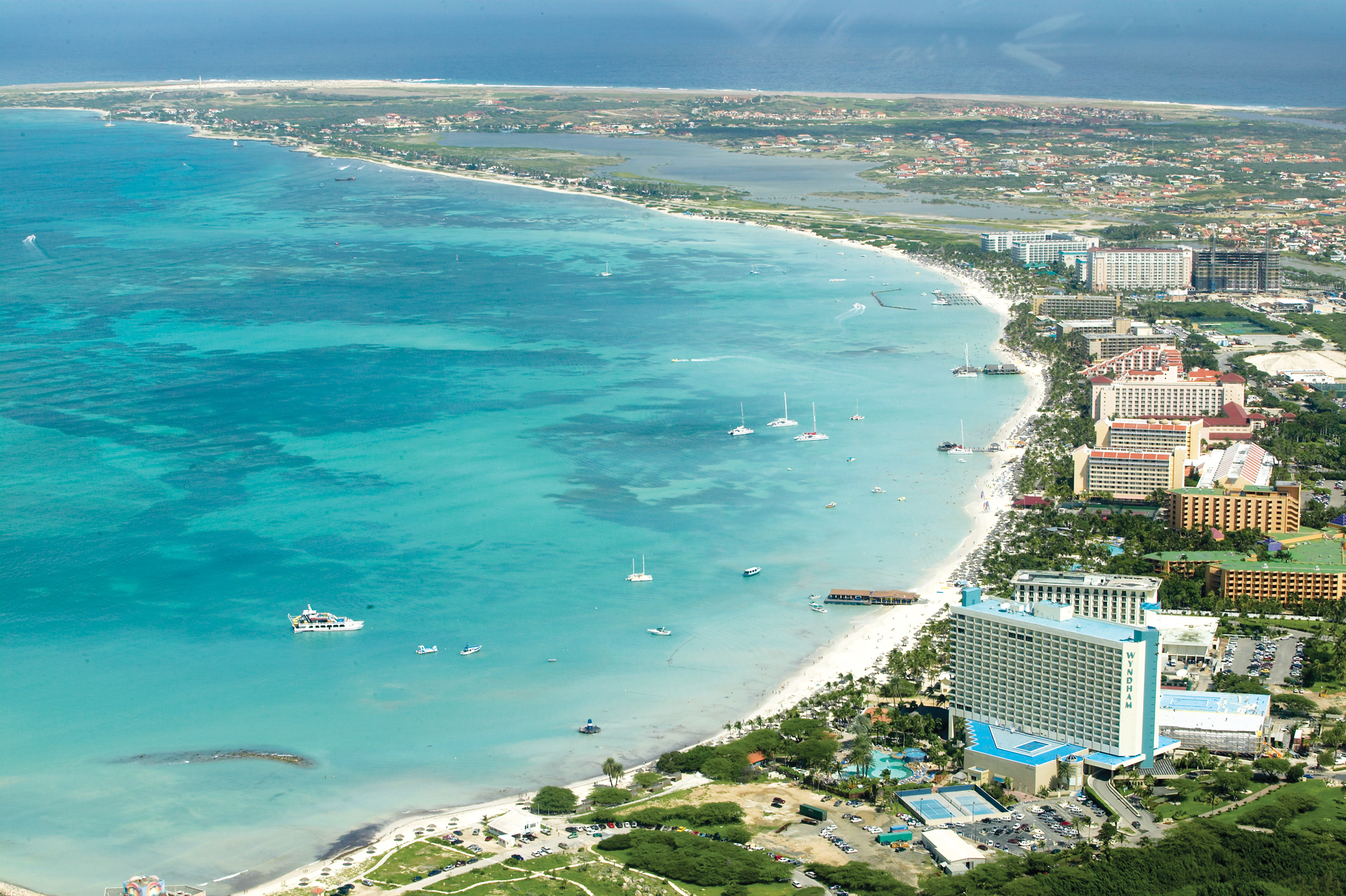 High-rise resorts line the Palm Beach area along the Aruba coastline.