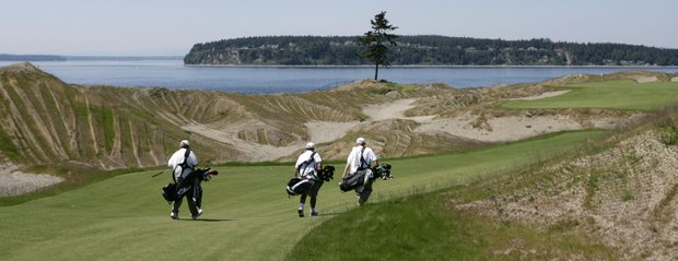 A group of caddies walks toward the lone tree at Chambers Bay Golf Course.