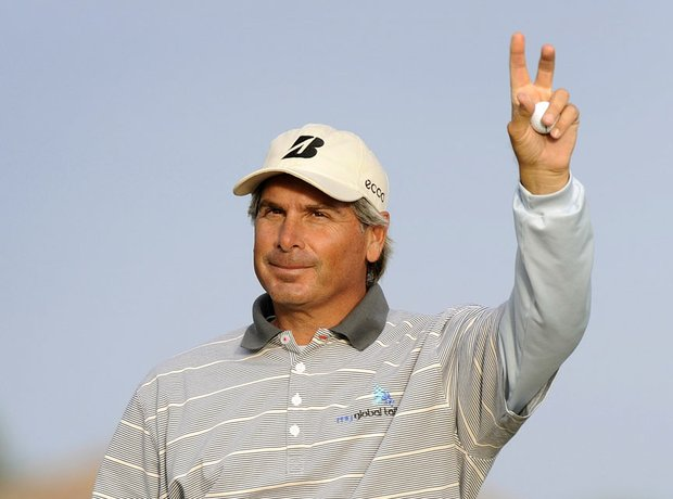 Fred Couples waves to the crowd after his victory.