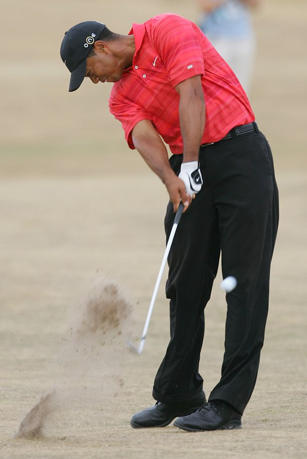 Tiger Woods plays a shot on the 10th hole during the final round of the 2006 British Open at Royal Liverpool.