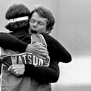 Tom Watson hugs caddie Bruce Edwards after winning the 1982 U.S. Open.