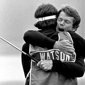 Tom Watson hugs caddie Bruce Edwards after winning the 1982 U.S. Open.